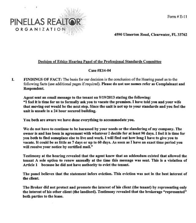 Pinellas Realtor Organization Ruling Against Sand Key Realty