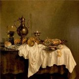 'Willem Claeszoon Heda,Breakfast,the Hermitage, St. Petersburg,1648' Oil Painting, 16x16 Inch / 41x41 Cm ,printed On High Quality Polyster Canvas ,this Vivid Art Decorative Prints On Canvas Is Perfectly Suitalbe For Powder Room Artwork And Home Gallery Art And Gifts
